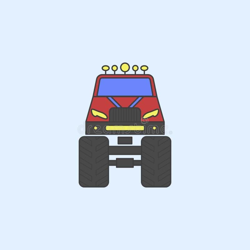 bigfoot samochodu przodu pola konturu ikona Element potwór ciężarówki pokazuje ikonę dla mobilnych pojęcia i sieci apps Śródpolny ilustracji