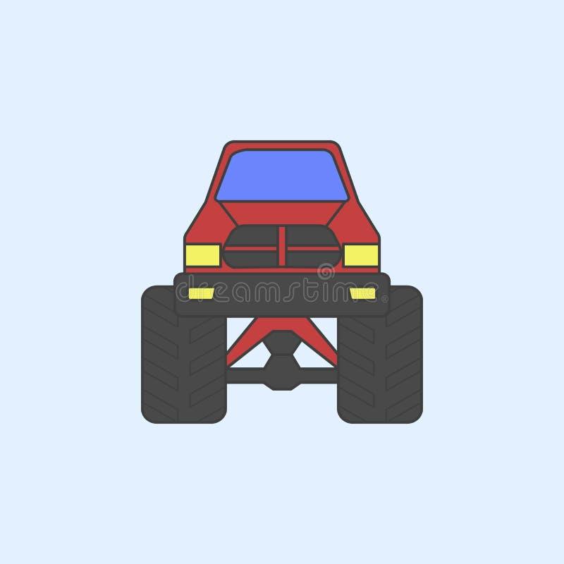 bigfoot samochodu przodu pola konturu ikona Element potwór ciężarówki pokazuje ikonę dla mobilnych pojęcia i sieci apps Śródpolny royalty ilustracja