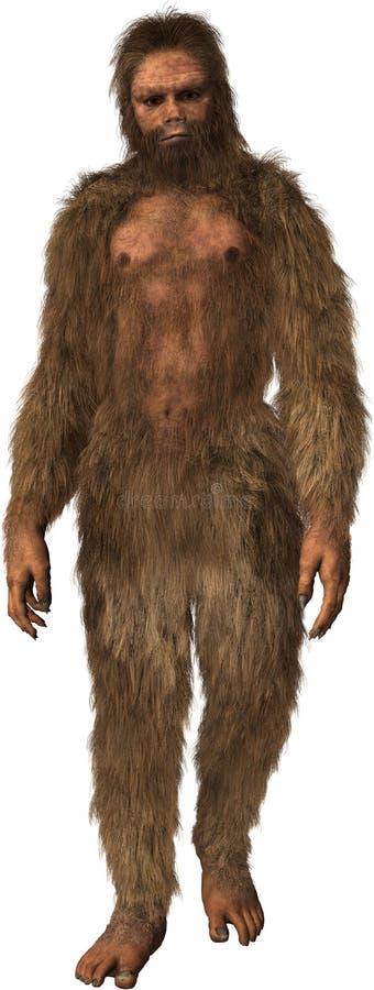 Bigfoot, Sasquatch, Caveman, Odizolowywający, jama mężczyzna royalty ilustracja