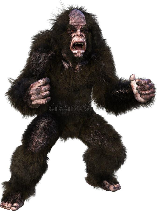 Bigfoot, Sasquatch, Yeti, Beast, Isolated. Illustration of Bigfoot, Sasquatch, yeti, or abominable snowman. The mythical wildlife beast animal is isolated on stock illustration