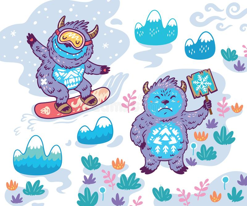 Bigfoot snowboarding Bigfoot rymmer ett tecken Vektorillustration i tecknad filmstil stock illustrationer
