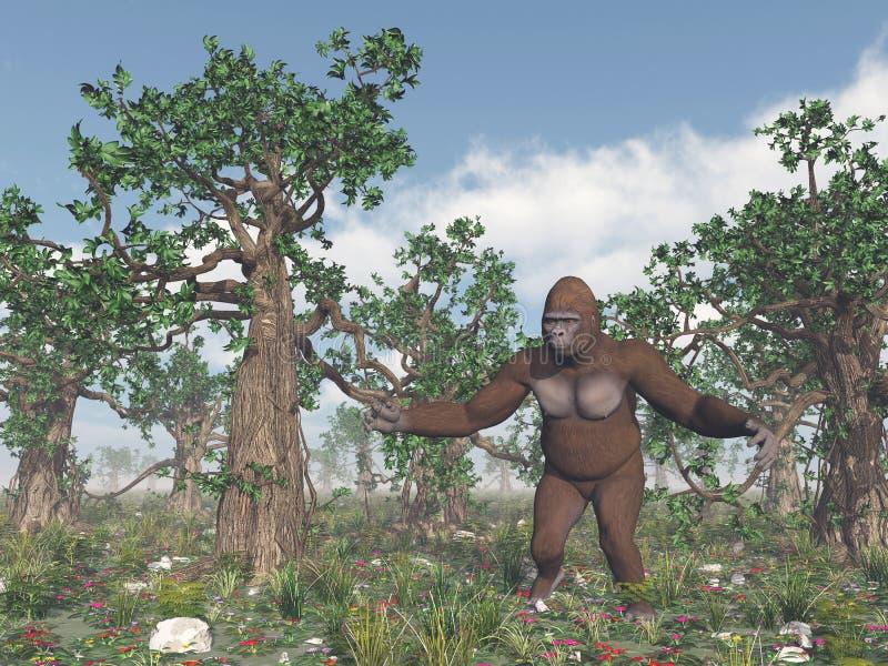 Bigfoot w dzikim ilustracji