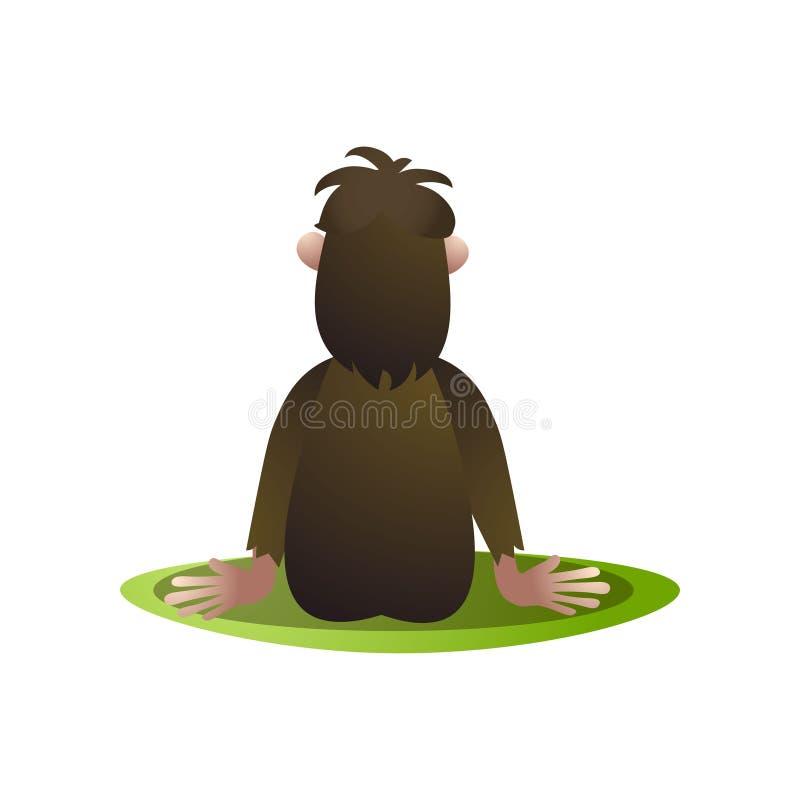 Bigfoot, yetiverblijf en zaag bij horizont achtermening royalty-vrije illustratie