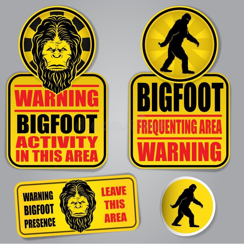 Bigfoot znaki ostrzegawczy royalty ilustracja