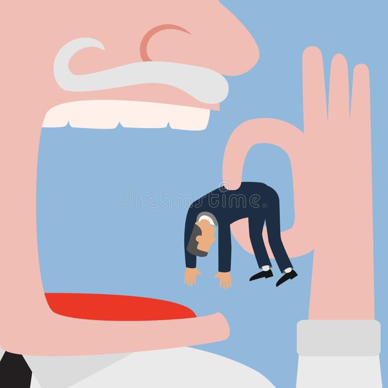 Bigger businessman eating small businessman vector illustration