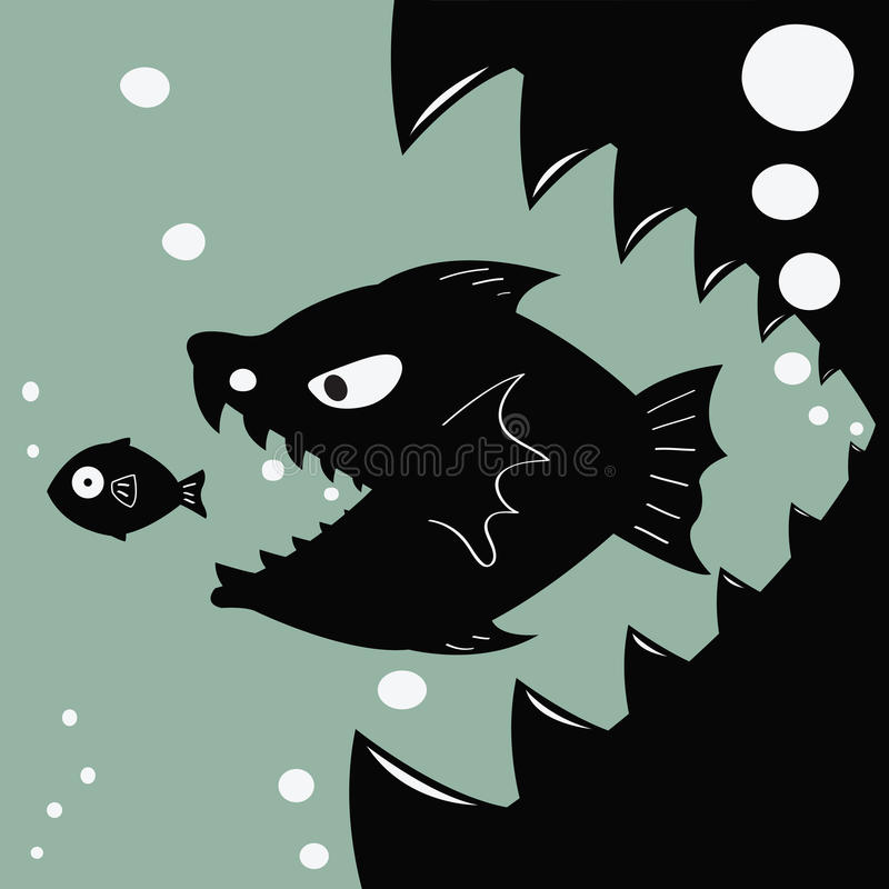 Bigger eat smaller stock vector illustration of merger for Fish not eating