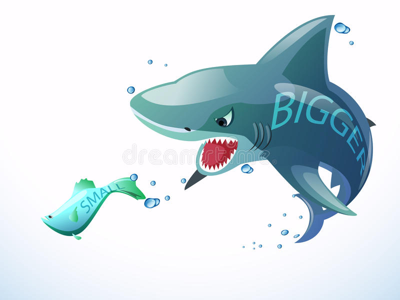 Download Shark eat small fish stock illustration. Image of investment - 29868355