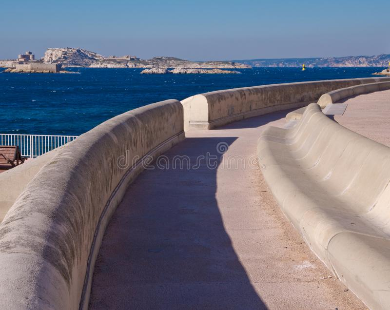 The biggest bench in the world is in Marseille royalty free stock photo