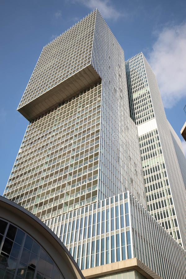 The biggest building De Rotterdam. The biggest en highest building of the city of Rotterdam. It`s called De Rotterdam. De Rotterdam is a building on the royalty free stock images
