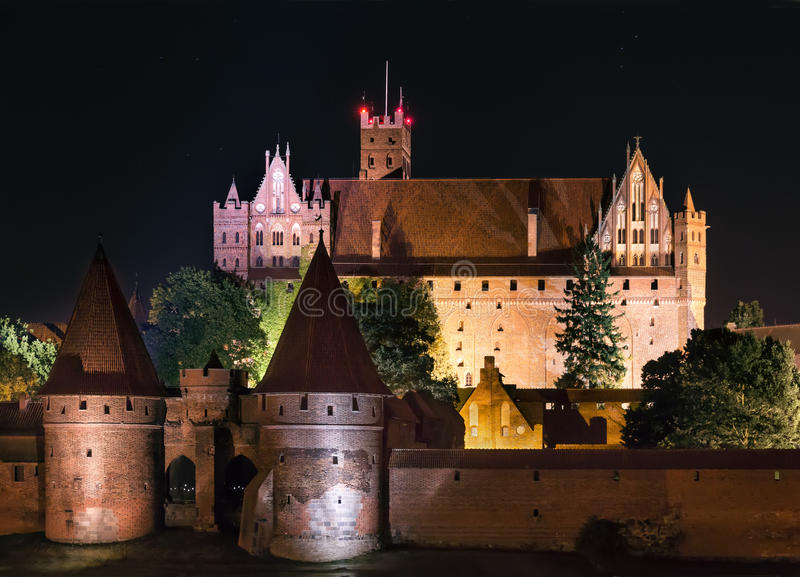 Biggest castle in Europe. Malbork in Poland. Polish castle Malbork. Gothic style. Formerly seat of Teutonic Order stock photos