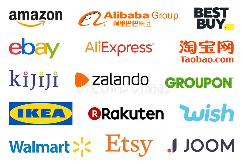 Biggest e-shops logo collection. High quality logo collection set of the biggest e-commerce online shopping sites such as Amazon, eBay, Alibaba and Wish isolated
