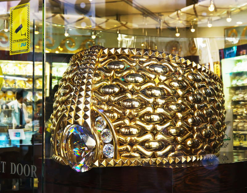 Biggest gold ring in Deira Gold Souq royalty free stock photo