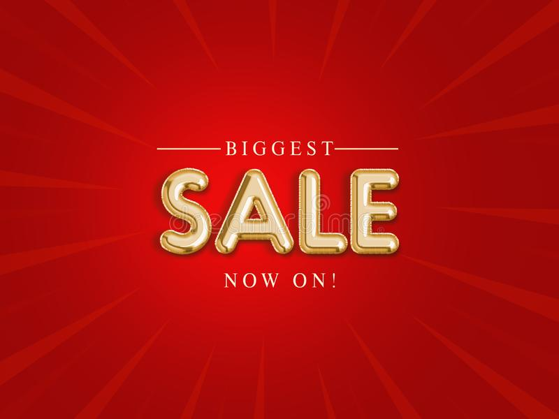 `Biggest sale` gold foil texture, new sales promotion banner on red background, for advertising, web site, flyers, poster & sale a. Nnouncement, illustration stock illustration