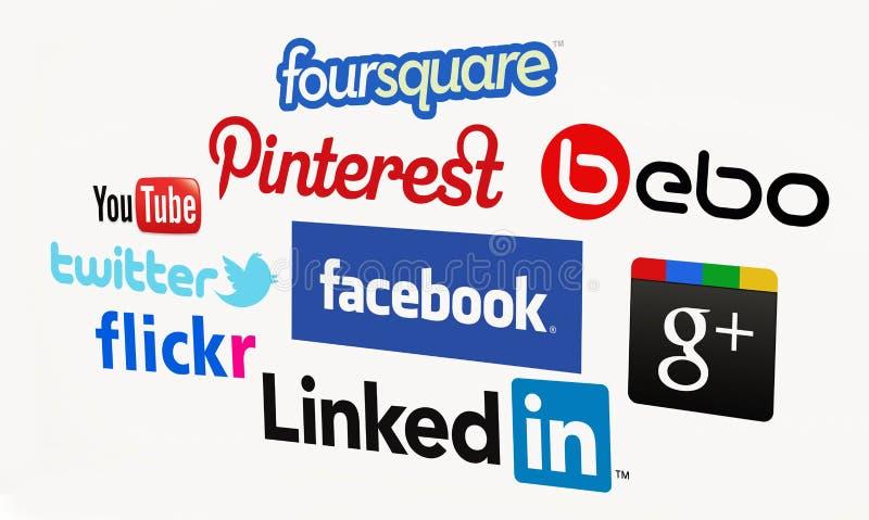 Social Media. Biggest social media websites. For editorial use only. Bright background