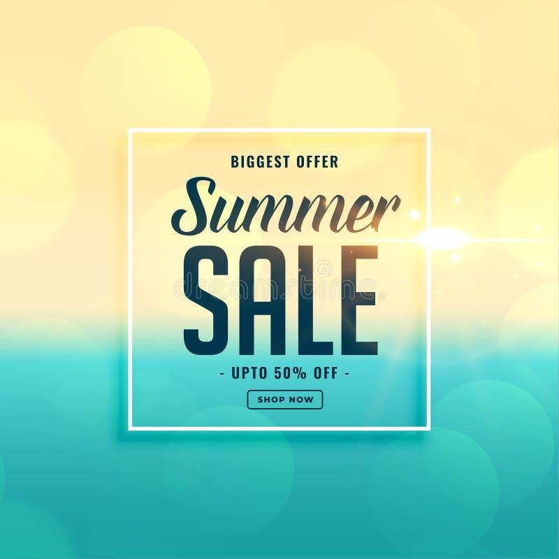 Biggest summer sale beach background vector illustration