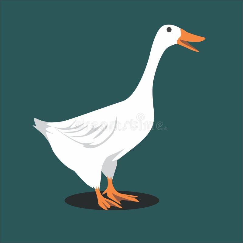 Beautiful White Goose Vector Illustration stock illustration