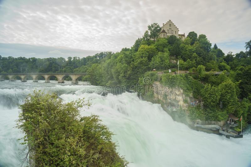 The biggest waterfall - Rhine Falls with Laufen Castle at Europe. Zurich, Switzerland stock images