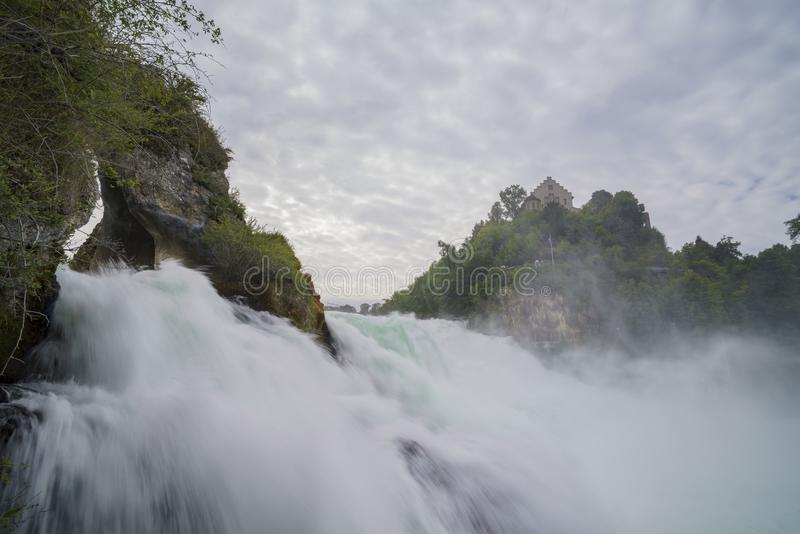 The biggest waterfall - Rhine Falls with Laufen Castle at Europe. Zurich, Switzerland royalty free stock photos