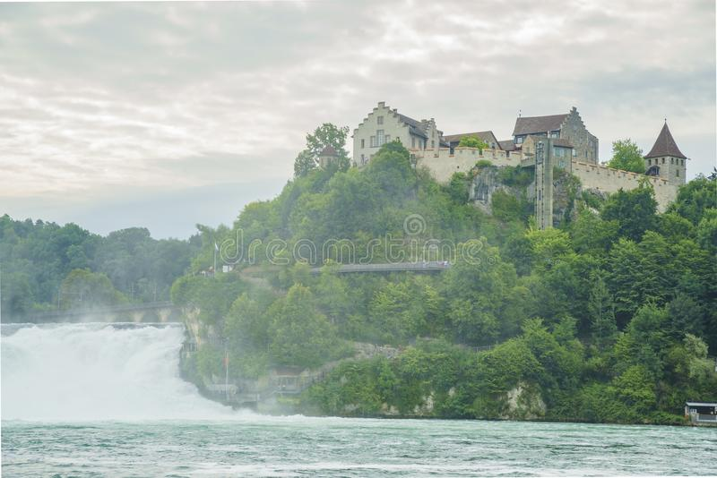 The biggest waterfall - Rhine Falls with Laufen Castle at Europe. Zurich, Switzerland royalty free stock photo