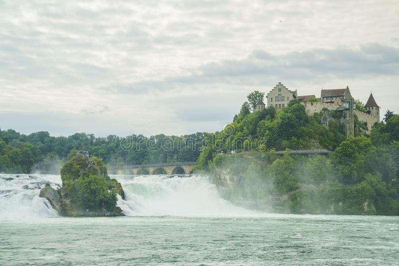 The biggest waterfall - Rhine Falls with Laufen Castle at Europe. Zurich, Switzerland stock image