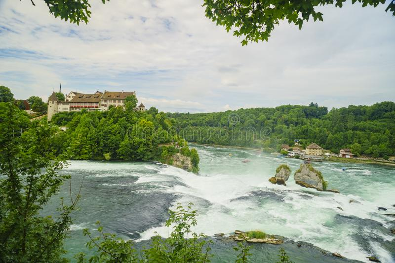 The biggest waterfall - Rhine Falls with Laufen Castle at Europe. Zurich, Switzerland royalty free stock photography