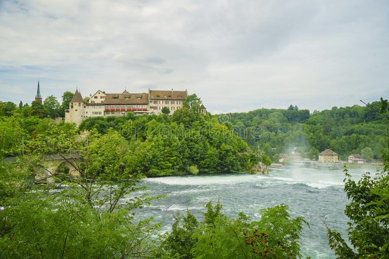 The biggest waterfall - Rhine Falls with Laufen Castle at Europe. Zurich, Switzerland royalty free stock image