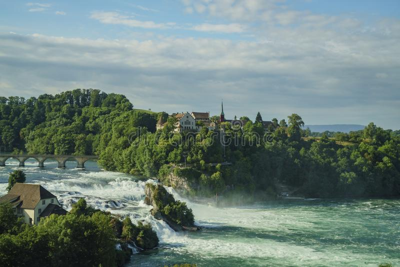 The biggest waterfall - Rhine Falls with Laufen Castle at Europe. Zurich, Switzerland royalty free stock images