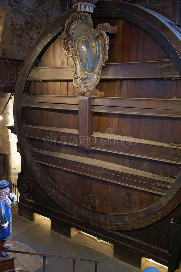 The biggest wine barrel in the world (Heidelberg castle). The biggest oak wine barrel in the world sittuated in Heidelberg Castle (Schloss Heidelberg stock photo