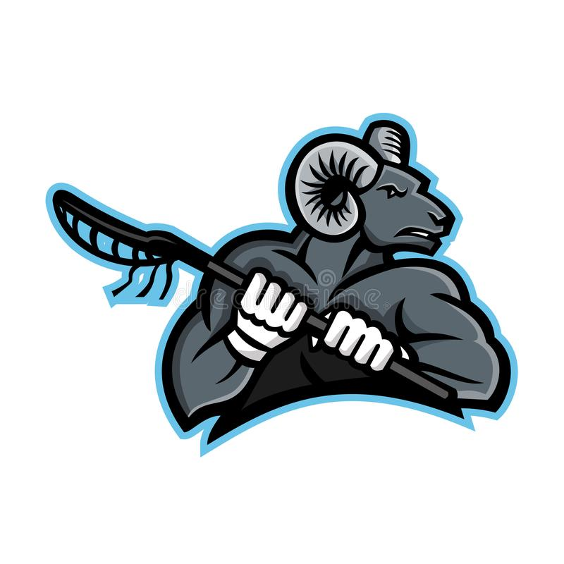 Bighorn Ram Lacrosse Mascot ilustración del vector