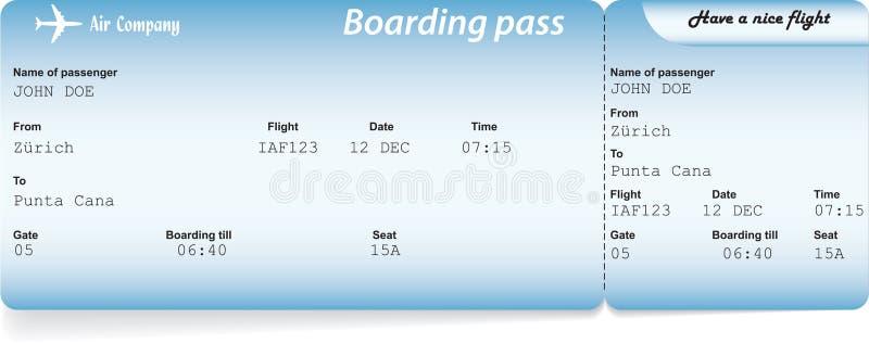 Biglietti blu del passaggio di imbarco di linea aerea illustrazione di stock