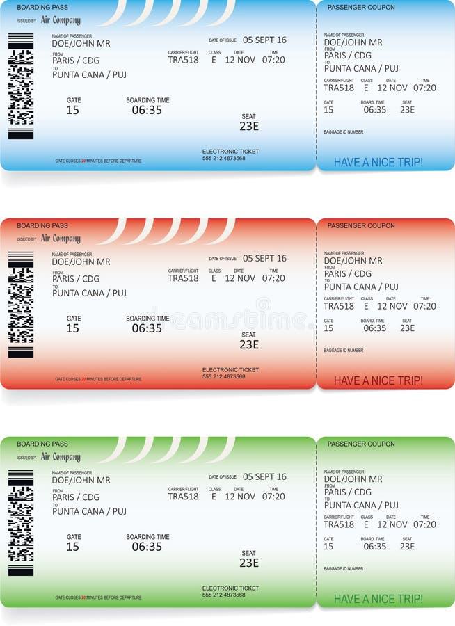 Biglietti blu, verdi e rossi del passaggio di imbarco di linea aerea illustrazione di stock