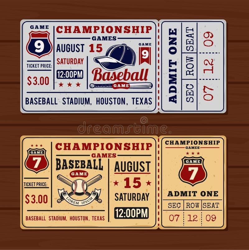 Biglietti d'annata al baseball ed al softball di campionato illustrazione vettoriale