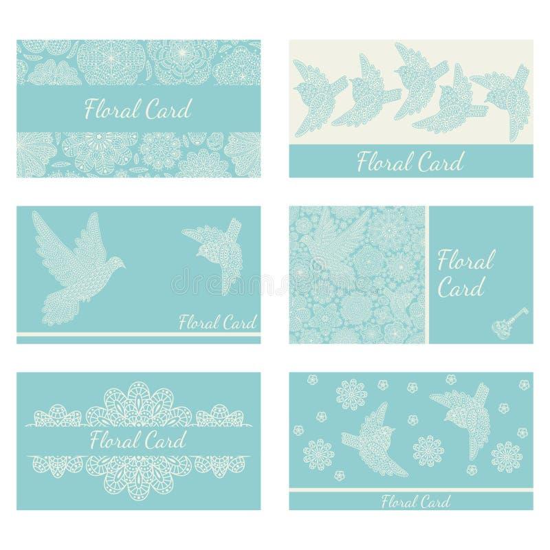 Biglietti da visita con gli uccelli ed i fiori decorativi creativi royalty illustrazione gratis