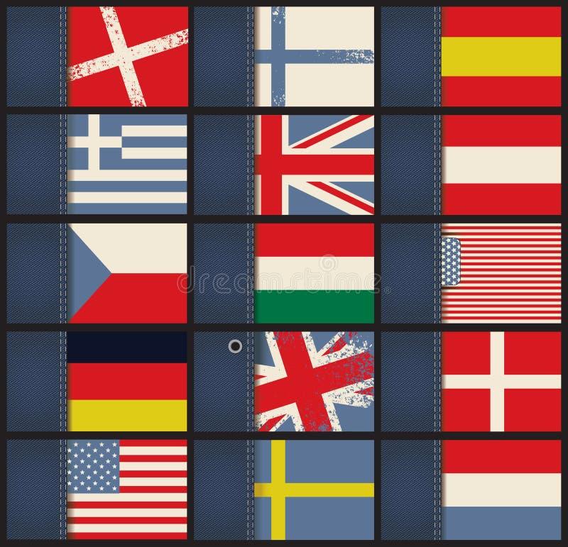 Biglietti da visita con le bandiere illustrazione vettoriale