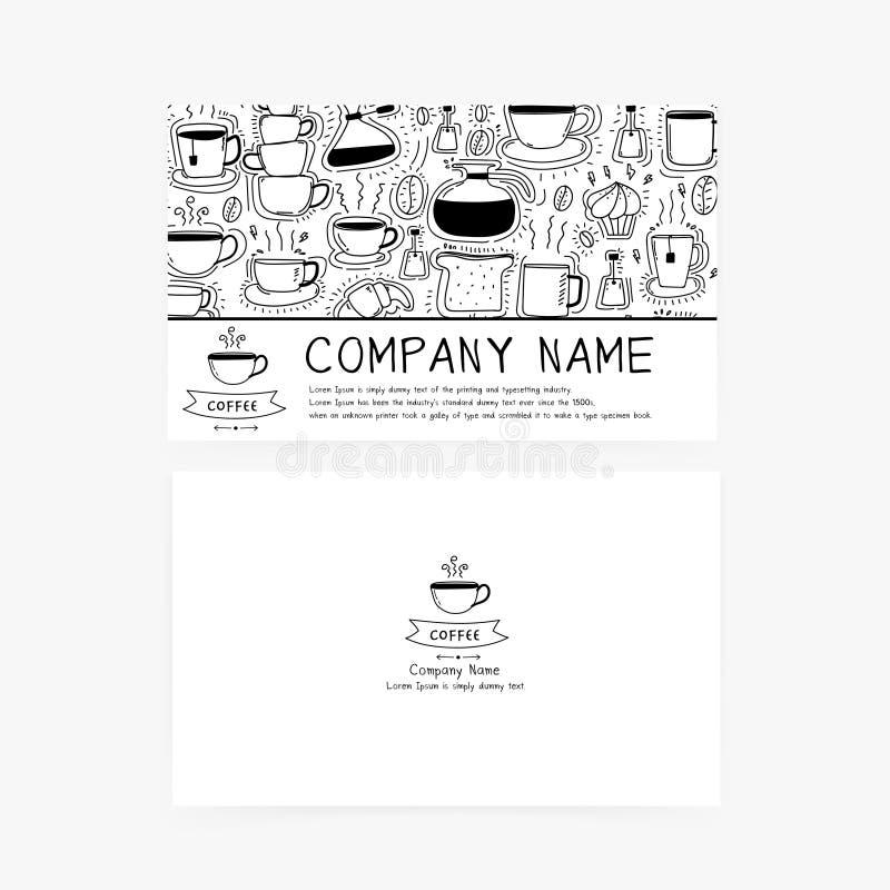 Biglietti da visita con le icone disegnate a mano del caffè di scarabocchio per la caffetteria o il ristorante illustrazione di stock