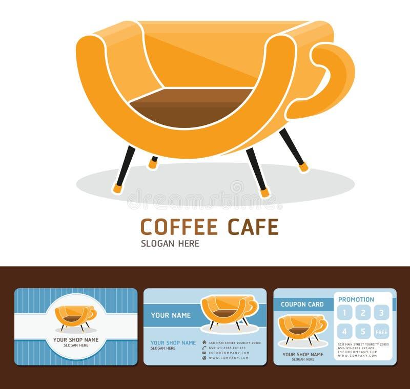 Biglietti da visita del caffè del caffè. royalty illustrazione gratis