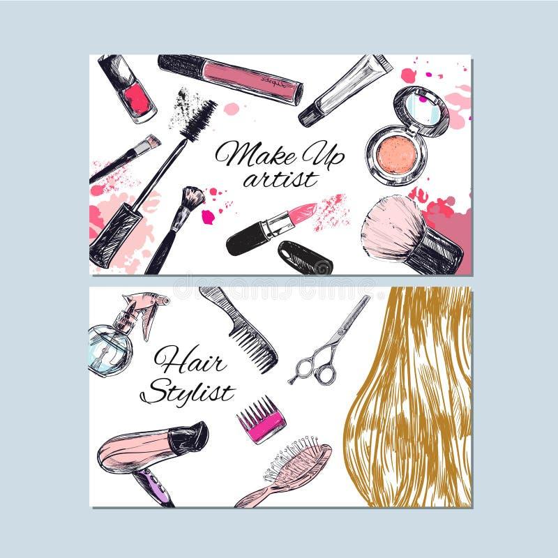Biglietti da visita dello stilista di capelli e del truccatore Bellezza e modo, tiraggio della mano di vettore illustrazione di stock
