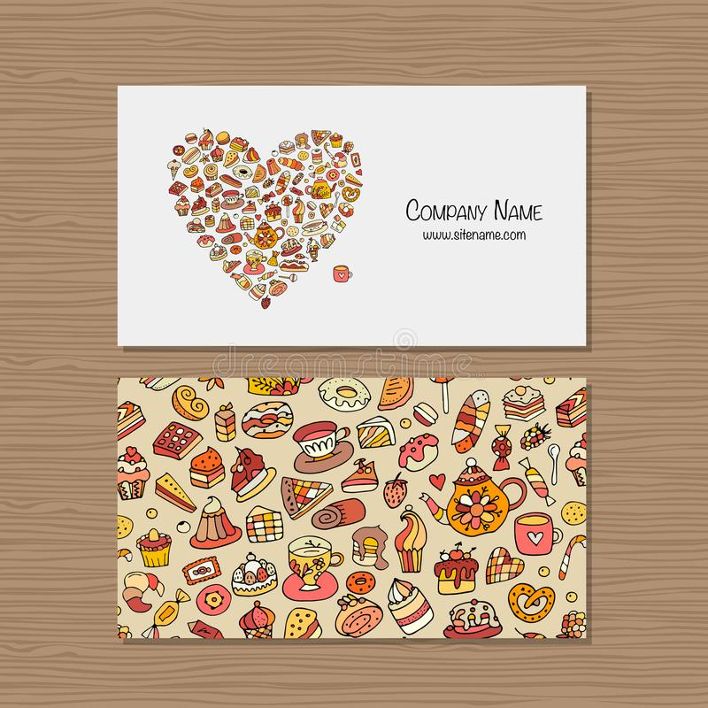 Biglietti da visita, idea di progettazione per la società del negozio dei dolci illustrazione di stock