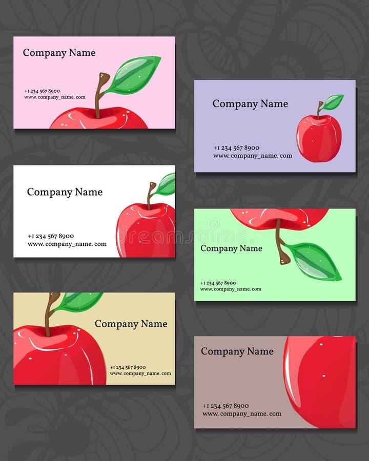 Biglietti da visita Illustrazione di una mela rossa fotografia stock libera da diritti
