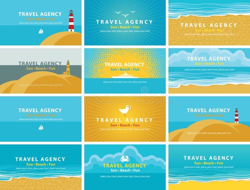 Biglietti da visita per l'agenzia di viaggi illustrazione di stock