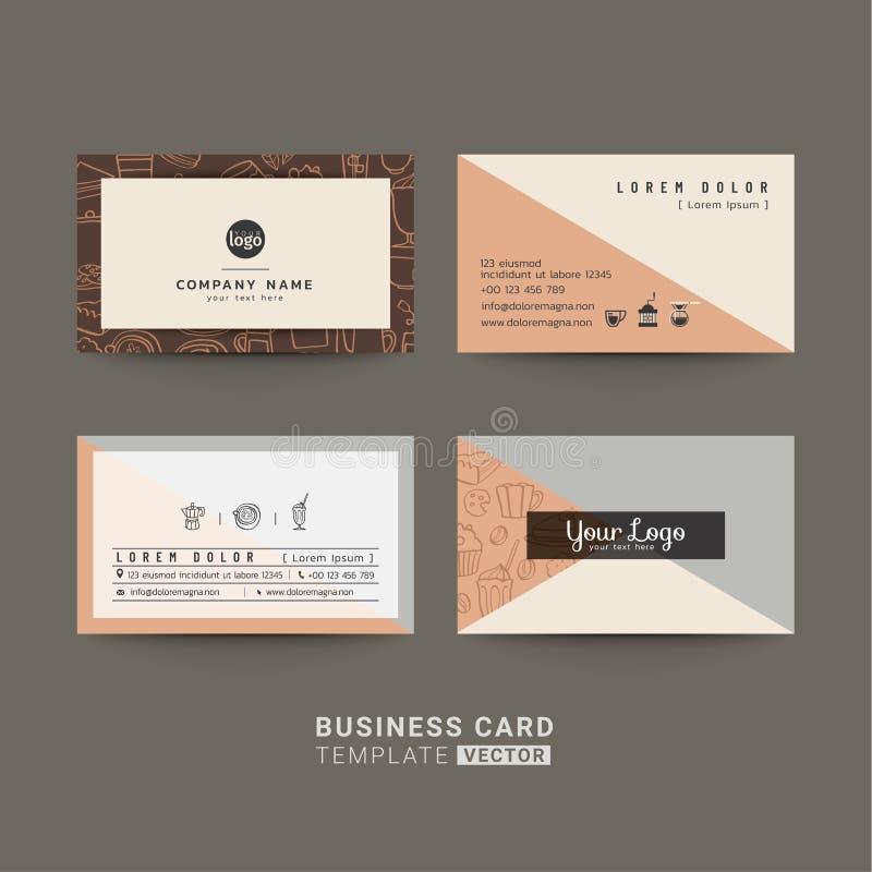 Biglietti da visita per la caffetteria o la società illustrazione di stock