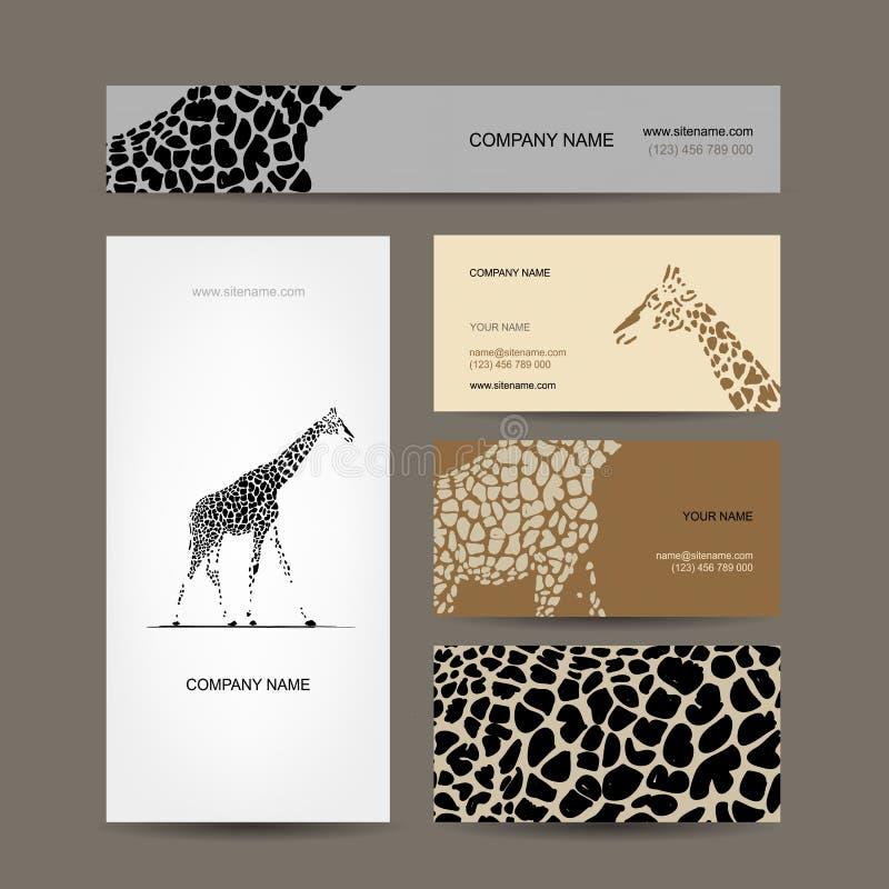 Biglietti da visita raccolta, modello della giraffa royalty illustrazione gratis