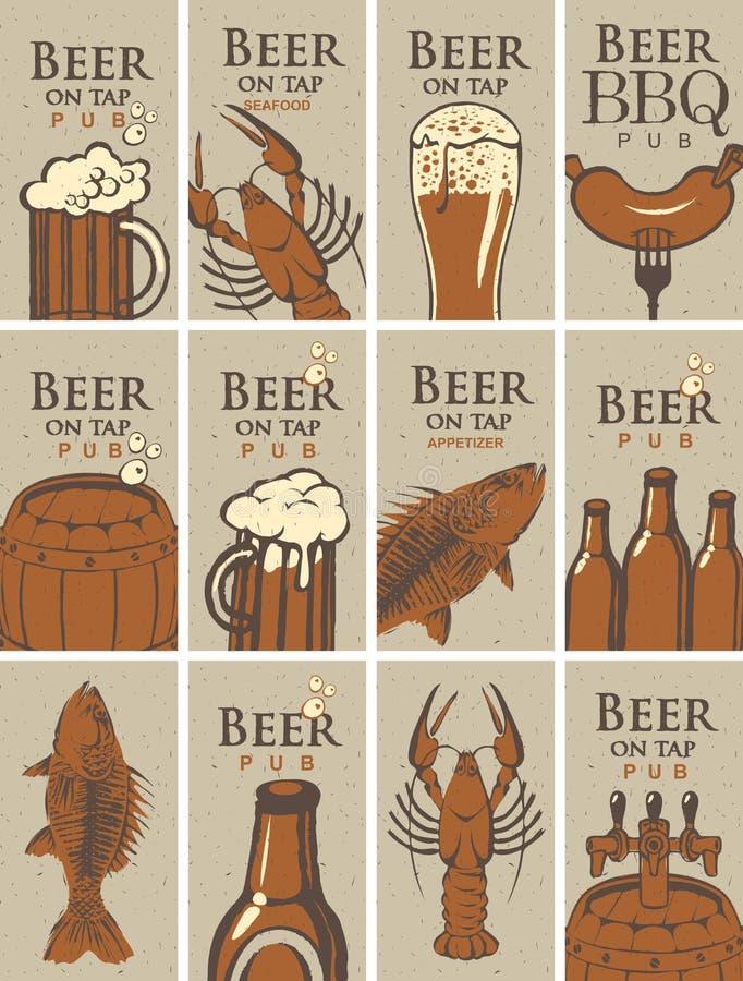 Biglietti da visita su birra e sugli spuntini illustrazione di stock