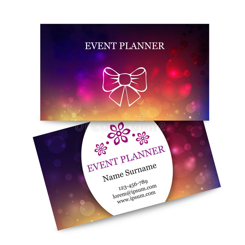 Biglietti da visita variopinti del modello per il pianificatore di evento illustrazione vettoriale