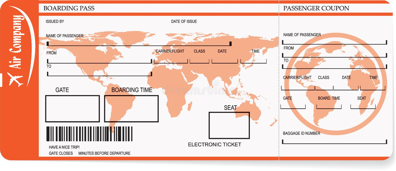 Biglietti del passaggio di imbarco di linea aerea con il codice a barre illustrazione di stock
