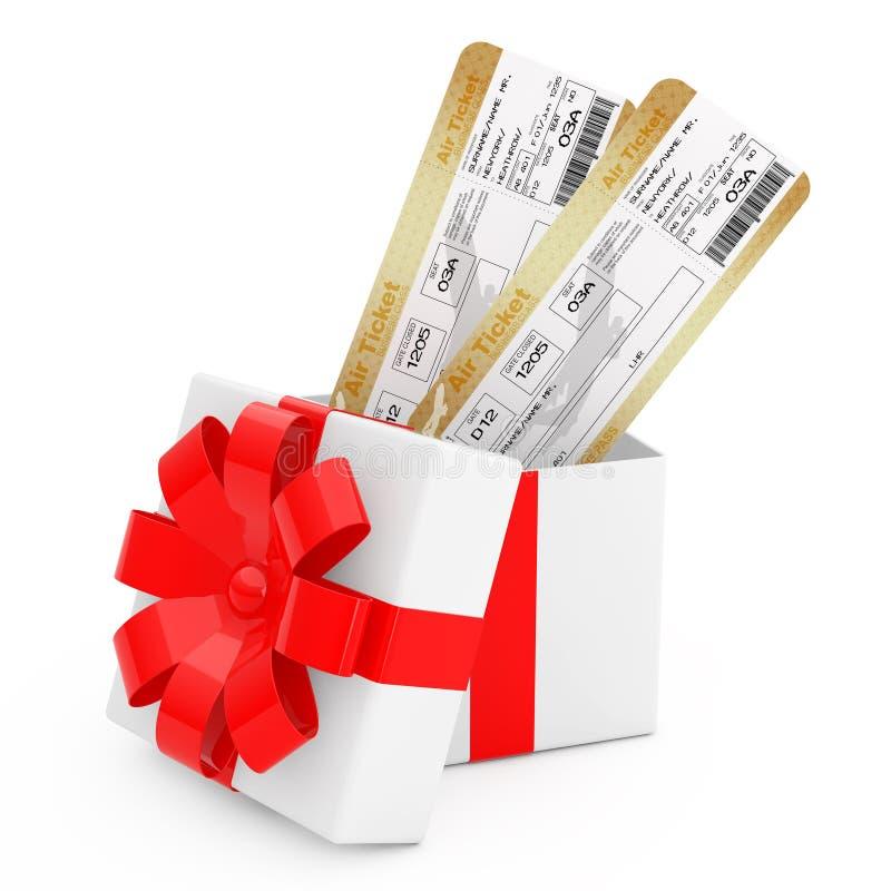 Biglietti del passaggio di imbarco di linea aerea in contenitore di regalo con il nastro e l'arco rossi rappresentazione 3d illustrazione di stock