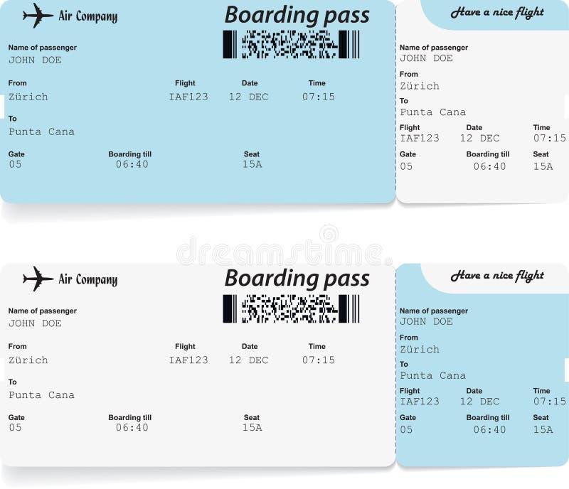 Biglietti del passaggio di imbarco di linea aerea per viaggiare royalty illustrazione gratis