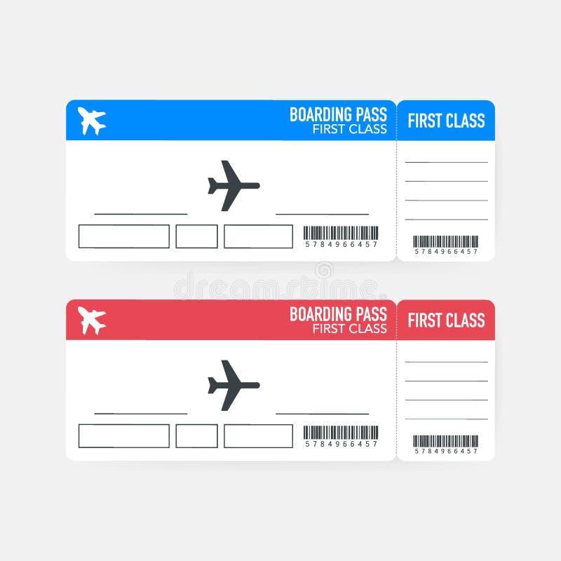 Biglietti del passaggio di imbarco di MobileAirline da spianare per il viaggio di viaggio Illustrazione di vettore illustrazione di stock