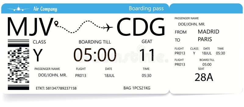 Biglietti del passaggio di imbarco di viaggio di linea aerea illustrazione vettoriale