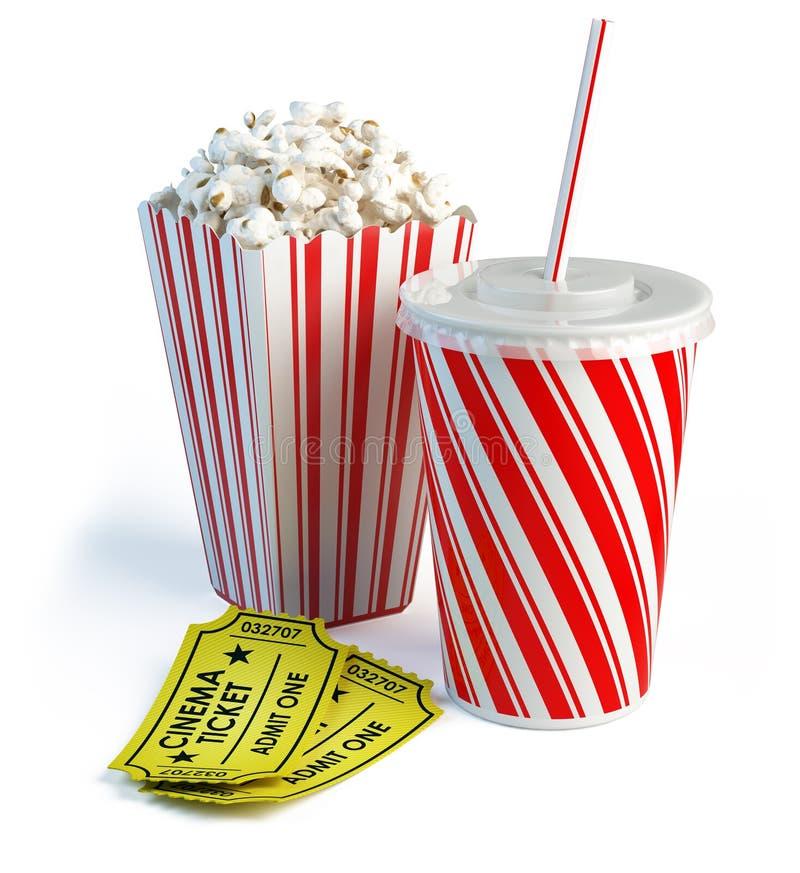 Biglietti del popcorn, della cola e del cinematografo illustrazione vettoriale